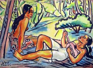 Painting: Tahitian women with ukulele
